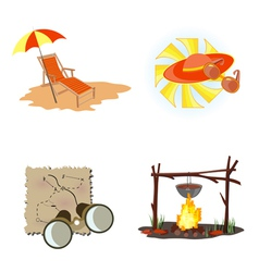 Holiday icons beach vector