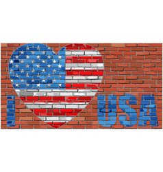 i love usa - message on a brick wall vector image vector image