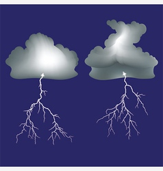 Isolated lightning and dark clouds vector