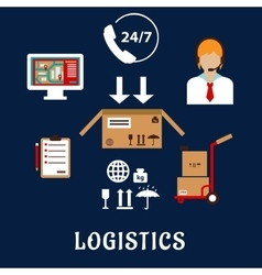 Logistics and delivery flat icons vector image