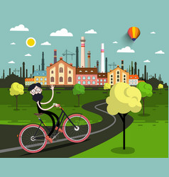 man on bicycle with industrial city on background vector image vector image
