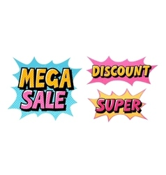Mega sale discount super comic text pop art vector