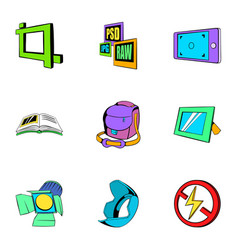 Photo studio icons set cartoon style vector