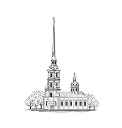saint-petersburg city st peter paul cathedral vector image vector image