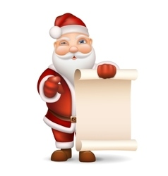Santa claus with a list of gifts vector
