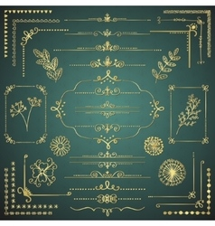 Set of golden decorative hand drawn design vector