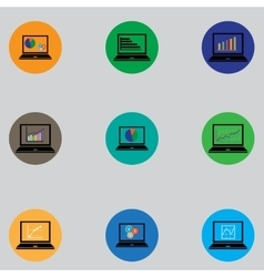 Set of icons with computers in flat design vector