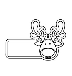 silhouette banner with face reindeer christmas vector image