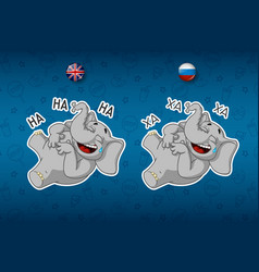 stickers elephants laughs holding her stomach vector image