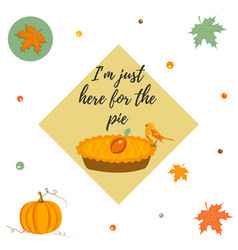 thanksgiving day background with pie pumpkin vector image vector image