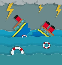 Thunderstorm and shipwreck in the ocean vector