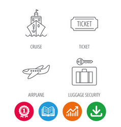 Ticket cruise ship and airplane icons vector