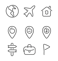Travel trip set icons vector