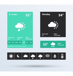 Weather widget ui set of the flat design trend vector