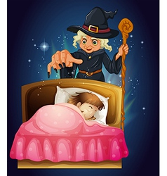 Witch Spell Cast Girl vector image vector image