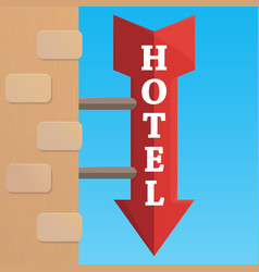 wooden pointer to the hotel summer signpost vector image
