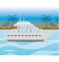 Yacht navigating in the ocean near a island vector