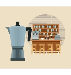 Coffee kettle pot break shop icon graphic vector