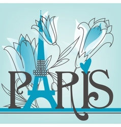 Paris lettering with lilies vector image