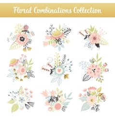 Floral combinations hand drawn vintage set vector