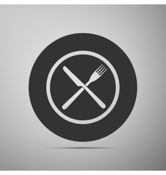 Restaurant icon Crossed fork and knife flat icon vector image