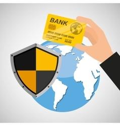 Card banking safe shield protection vector