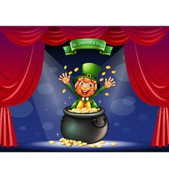 A man in a pot at the center of the stage vector image