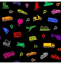 Seamless background transport colored icons vector