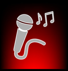Microphone sign with music notes postage stamp or vector