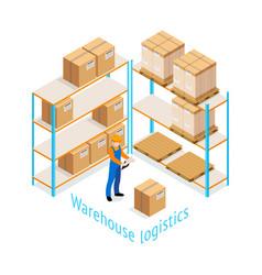 warehouse logistics isometric design vector image