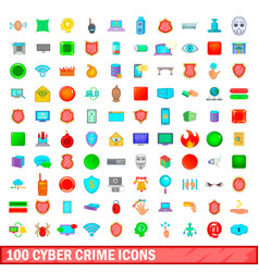 100 cyber crime icons set cartoon style vector