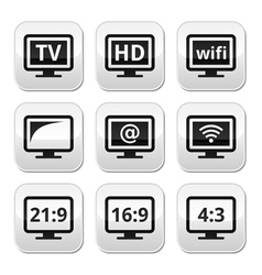 TV monitor screen buttons set vector image