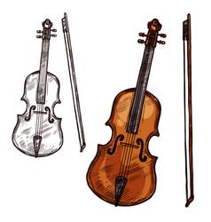 Sketch violin contrabass music instrument vector