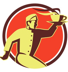 Waiter serving coffee cup retro vector
