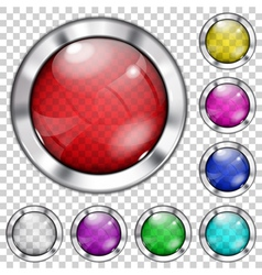 Set of transparent glass buttons vector