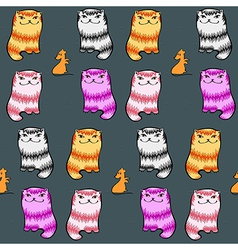 Seamless pattern with glad fat cartoon cats mice vector