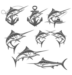 Marlin fishing emblems badges and design elements vector image