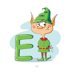 Cartoons alphabet - letter e with funny elf vector