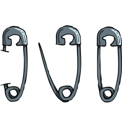 Set of safety pins vector
