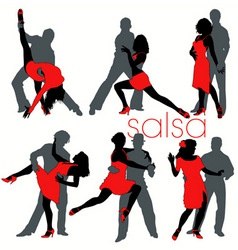 Salsa dancers set vector
