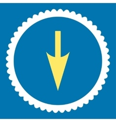 Sharp down arrow flat yellow and white colors vector