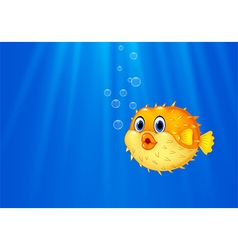 Cartoon funny puffer fish swimming in the ocean vector