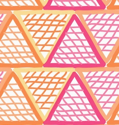Painted red and orange marker triangles checkered vector