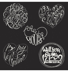 Set of 5 valentines day card design vector