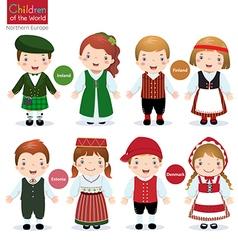 Children of the world Ireland Finland Estonia vector image