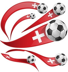 swiss flag set with soccer ball vector image