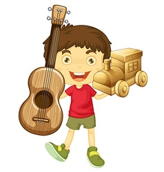 Little boy holding wooden toys vector image