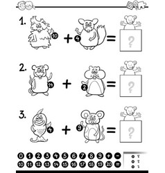 Addition educational activity for coloring vector