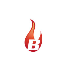 b letter flame logo vector image vector image