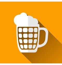 Beer mug icon long shadows vector
